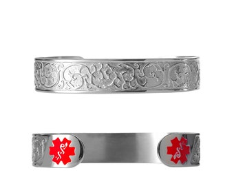 """Filigree 316L Medical ID Cuff-6""""( fits 6.5-8.0"""" wrists) -Red -Free Custom Engraving, Wallet Card, Apps-5303SRE"""