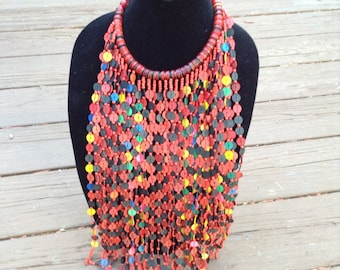 African red Tribal colar necklace