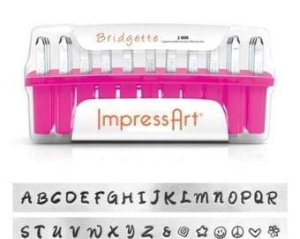 Metal Stamping Kit Impressart Bridgette Uppercase Alphabet Letter Stamps with Bonus Stamps 3mm Impression