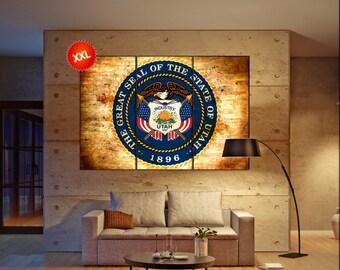 Utah seal flag state flag wall art canvas print seal of Utah state Wall Home decor interior Office Decor