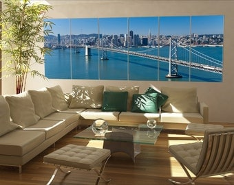6 panels / boards San Francisco Panorama with Bay bridge Large panorama panoramic canvas wall art art