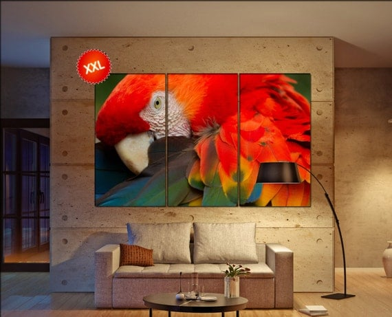 Scarlet Macaw  canvas Scarlet Macaw  wall decoration Scarlet Macaw  canvas art Scarlet Macaw  large canvas  wall decor