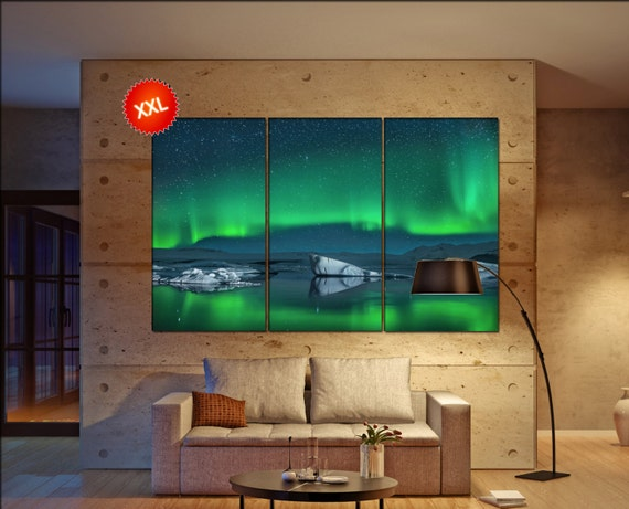 Aurora large canvas wall art  decor print Northern Lights  large  living room  Office Decor