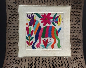 Amate Bark Paper Wall Art with Otomí Embroidered Designs
