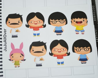 Burger Family LARGE Planner Deco Stickers l Deco Stickers l Decorative Stickers l Planner Stickers l Character Inspired Stickers