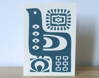 Bird Scandinavian 70s Greeting Card Screen Print Hand Made Teal Folk Art Fran Wood Design