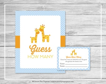 Giraffe Baby Shower Guess How Many Game - Printable Baby Shower Guess How Many Game - Blue Giraffe Baby Shower - Guess How Many - SP130