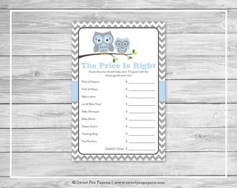 Owl Baby Shower Price Is Right Game - Printable Baby Shower Price Is Right Game - Blue Owl Baby Shower - Price Is Right Shower Game - SP135