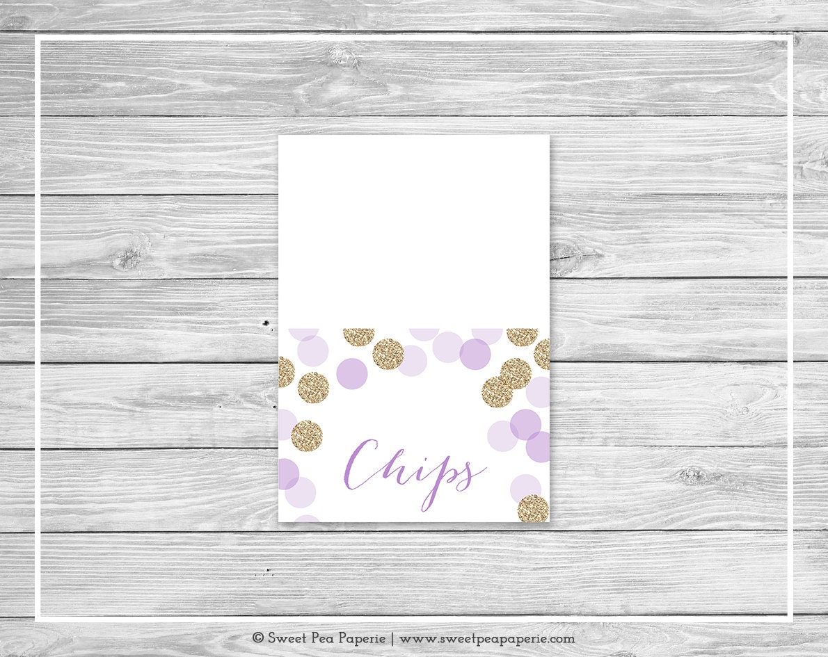 purple and gold baby shower buffet labels printable baby