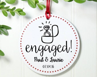 Personalized Engagement Christmas Ornament First Christmas Engaged Ornament Personalized Ornament Our First Christmas Engaged IBO2FS ro1