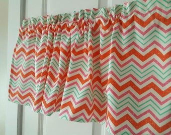 mulit colored chevron pink orange green curtain valance