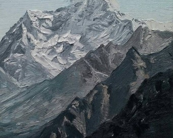 "Original 5"" × 7"" Landscape Oil Painting: ""Mountain Ridge"""