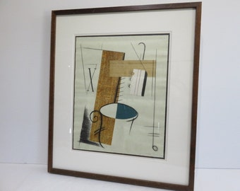 Signed Original Mid-Century Modern Pencil Drawing Over News Print.