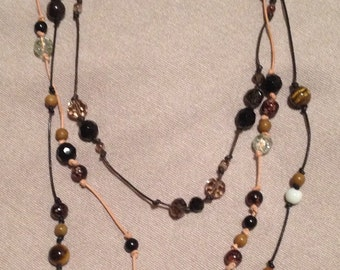 Tiger's Eye and Leather Thong Necklace