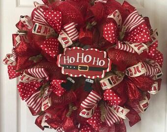 Christmas Wreath, Santa Wreath, Holiday Wreath, Xmas Wreath, Deco Mesh Wreath, Burlap Wreath, Christmas Decor, Holiday Decor