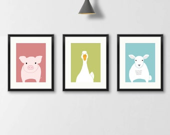 Farm animals nursery decor, print set of 3, animal art, nursery wall decor, art for kids, children wall decoration picture