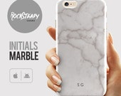 Peronalised Initials Marble iPhone 6s case 6 Plus 5C 5S SE case Personalized Samsung Galaxy S6 S7 S5 cell phone cover White Marble