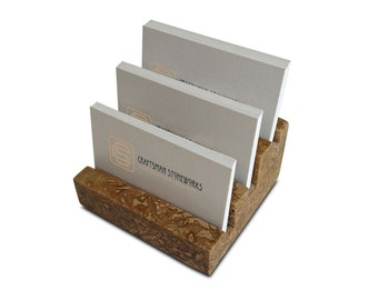 "Multiple Business Card Holder, Holds 3 different cards - Honed & Filled Travertine - 2"" Thick Slab- Stadium Design - Office Desk Home"