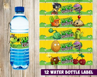 12 Plants Vs Zombies Water Bottle Label instant download, Printable Plants Vs Zombies Water Bottle Label, Water Label