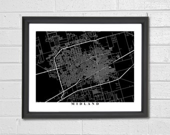 Midland Map Art - Map Print - Black and White - Texas - City Map Art - Hometown Map - Graduation Gift - Wedding Gift - Engagement Gift