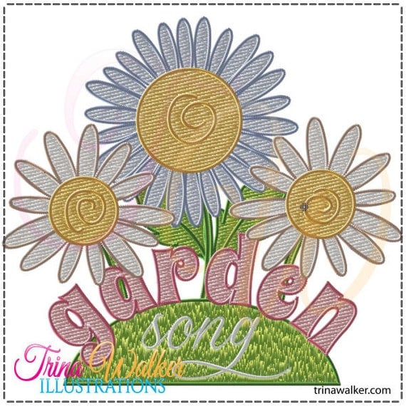 Garden song 1 machine embroidery design 4x4 for Garden embroidery designs free