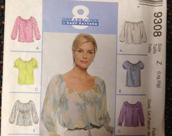 Misses TOP, 8 patterns.  Size Lg - XLg. McCalls #9308