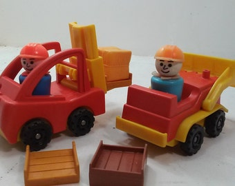 Fisher Price Vintage Little Truck - Forklift and Front End Loader w pallets and construction workers #341 (1980)