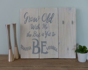 Wall art 'Grow old with me' with space for personal photo