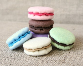 Pretend Play Felt Food French Macarons (Macaroons) Tea Party Set