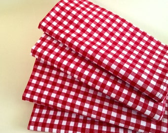 "50% off-""AS IS""-Red Gingham Dinner Napkins, Classic Red and White Check. Set of 6.  Summer picnic,July 4th, Italian Cafe"