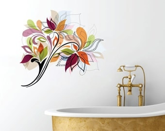 Fancy Flowers Design Full Color Wall Decal