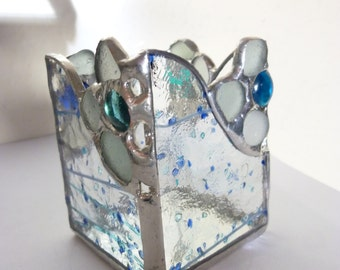 Stained glass box with sea glass