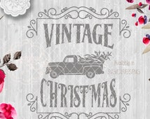 Vintage Rustic Christmas SVG File, Cutting File, Ford Pickup truck Vector Clipart Holiday Decor, Silhouette Cutting file design