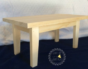 """Wooden Table - 18"""" dolls - Unpainted"""