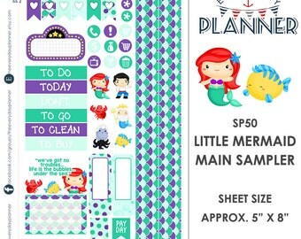Little Mermaid Sampler Kit | Over 30+ Kiss-Cut Stickers | Erin Condren and Mambi  | Disney Inspired   SP50