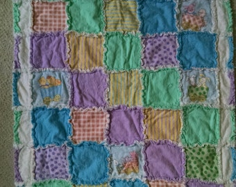 Fun with colors and patterns; rag quilt
