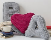 Letter and heart cushion set  Initial Pillow  3D cushion  Gift for her  Crochet Cushion  Alphabet Cushion  Knitted Cushion