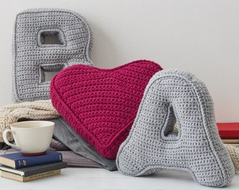 Valentines Pillow, anniversary gift, Initial Pillow, Heart Pillow, Gift for her, Crochet Heart, Alphabet Cushion, Knitted Cushion
