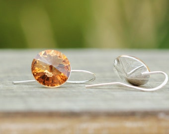 Amber Orange Crystal Drop Earrings, Swarovski Crystal Light Colorado Topaz Earrings, Bridesmaids Gift, Orange Topaz Crystal Earrings
