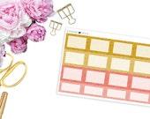 SBC August Faux Glitter Square Boxes -- Matte Planner Stickers