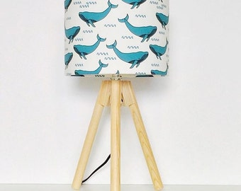 Blue Whales Drum Lampshade for Children's Interior Decor
