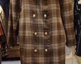 Around 1990's tartan plaid thin coat. Size M.