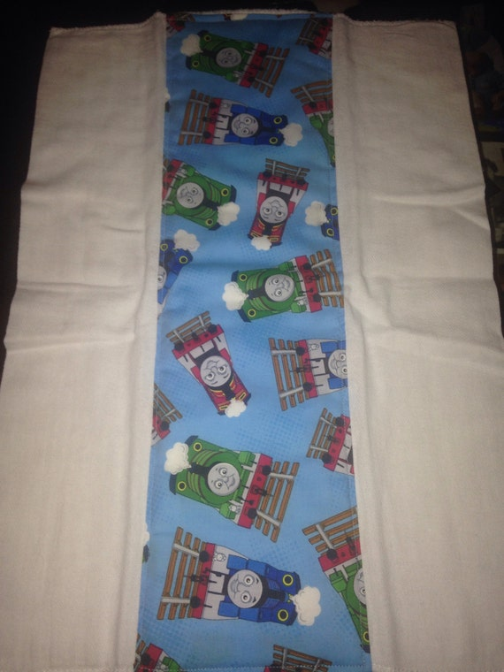 Thomas the train baby burp cloth cotton fabric and diaper for Train themed fabric