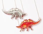 Double sided Stegosaurus Acrylic Necklace