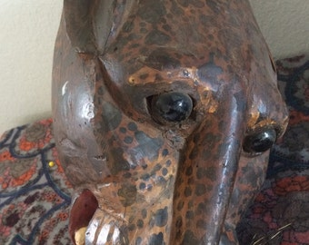 Wooden jaguar mask, hand crafted, Wood, pigment and wild peccary hair, glass eyes, collectable, gift, unique mask, gift, folk art