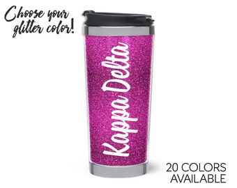 KD // Kappa Delta // Script Glitter Stainless Steel Tumbler // Choose Your Color