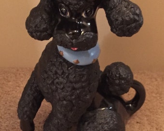 Mid Century black french poodle statue