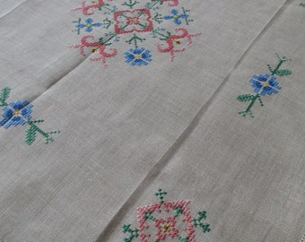 Lovely Unused Vintage Linen Table Cloth- Hand Embroidered Counted Cross Stitch Motifs