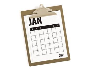 Printable Calendar, 2016 Calendar, Monthly Printable Calendar, Instant Download, Monthly Planner, Minimal Calendar, Monochrome Calendar