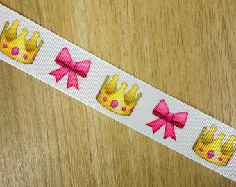 """7/8"""" Emoji Crown & Ribbon Girly Princess Printed Grosgrain Ribbon Bows HairBows Birthday Party Craft Supplies"""